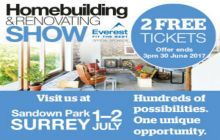 Get your TWO FREE tickets to the Southern Homebuilding & Renovating Show at the Sandown Park, Surrey 1-2 July 2017